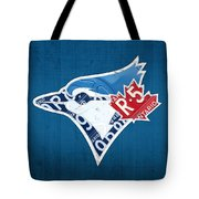 Toronto Blue Jays Baseball Team Vintage Logo Recycled Ontario License Plate Art Tote Bag