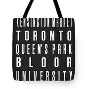 Toronto City Subway Sign Tote Bag