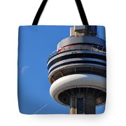 Toronto Cn Tower Moon And Jet Trail Tote Bag