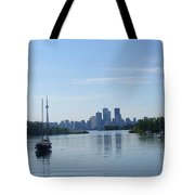 Toronto Skyline From Tommy Thompson Park Tote Bag