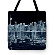 Toronto Skyline In Blue Tote Bag