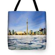 Toronto Skyline In Winter Tote Bag