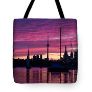 Toronto Skyline - The Boats Are Coming In Tote Bag