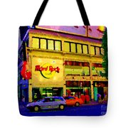 Toronto Street Scene Night Scapes Hard Rock Cafe Downtown Drive By City Lights Canadian Art Cspandau Tote Bag