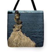 Toronto's Cn Tower Sculpted From Natural Stones Tote Bag