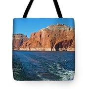 Tour Boat Wake In Lake Powell In Glen Canyon National Recreation Area-utah  Tote Bag