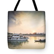 Tourist Boat On Sunset Cruise In Phnom Penh Cambodia River Tote Bag