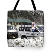 Tourist Vehicles Parked At The No Parking Sign In Sonmarg Tote Bag