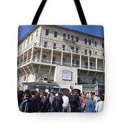 Tourists At Alcatraz Island Tote Bag