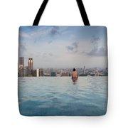 Tourists At Infinity Pool Of Marina Bay Tote Bag