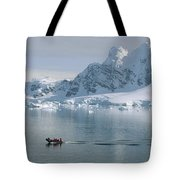 Tourists In Zodiac Boat Paradise Bay Tote Bag