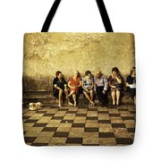 Tourists On Bench - Taormina - Sicily Tote Bag
