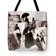 Tourists On Mammoth Terraces Tote Bag