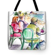 Tourists On The Costa Blanca In Spain Tote Bag