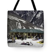 Tourists Surrounded By Snow And Ice Outside One Of The Few Buildings Tote Bag