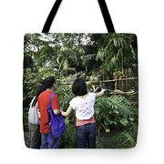 Tourists Viewing The Colorful Birds Tote Bag
