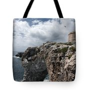 Stunning Tower Over The Cliffs Of Alcafar In Minorca Island - Tower And Sea Tote Bag