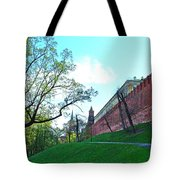 Tower And Wall From Park Outside Kremlin In Moscow-russia Tote Bag