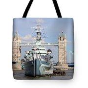 Tower Bridge And Battleship 5863 Tote Bag