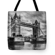Tower Bridge In London Uk Black And White Tote Bag
