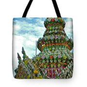 Tower Closeup Of Buddhist Temple At Grand Palace Of Thailand  Tote Bag