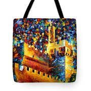 Tower - Palette Knife Oil Painting On Canvas By Leonid Afremov Tote Bag
