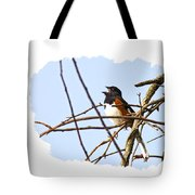 Towhee Singing On Top Of Mountain Tote Bag