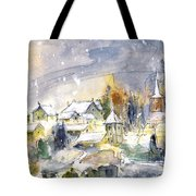 Town By The Rhine Falls In Switzerland Tote Bag
