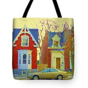 Town Houses In Winter Suburban Side Street South West Montreal City Scene Pointe St Charles Cspandau Tote Bag