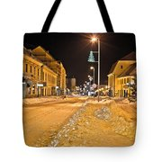 Town In Deep Snow On Christmas  Tote Bag