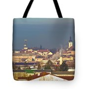 Town Of Bjelovar Winter Skyline Tote Bag
