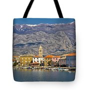 Town Of Vinjerac In Front Of Paklenica National Park Tote Bag