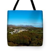 Town On A Hill With 12 Pin Mountain Tote Bag
