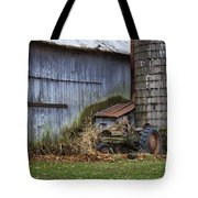 Tractor And Barn On Cloudy Day Tote Bag