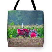 Tractor In A Corn Field Tote Bag