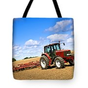 Tractor In Plowed Farm Field Tote Bag by Elena Elisseeva