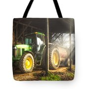 Tractor In The Morning Tote Bag