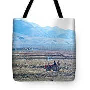 Tractor Used In Farming Along The Road To Shigatse-tibet Tote Bag
