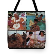 Traditional Pacific Handicrafts Postage Stamp Print Tote Bag