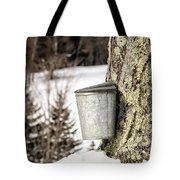 Traditional Sap Bucket On Maple Tree In Vermont Tote Bag