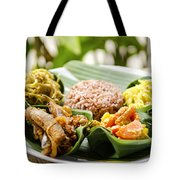 Traditional Vegetarian Curry With Rice In Bali Indonesia Tote Bag