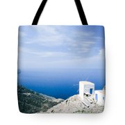 Traditional Windmill On Karpathos Island - Greece Tote Bag