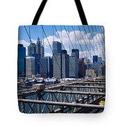 Traffic On A Bridge, Brooklyn Bridge Tote Bag
