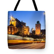 Traffic On The Solidarity Avenue In Warsaw Tote Bag