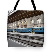 Train At Station Platform Budapest Hungary Tote Bag