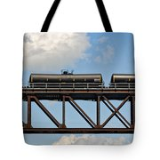 Train Cars On The Bridge Tote Bag