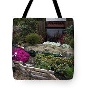 Train Garden And Girl Tote Bag