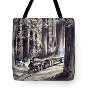 Train In The Redwoods Tote Bag