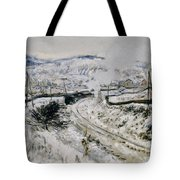 Train In The Snow At Argenteuil Tote Bag