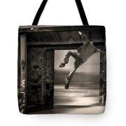 Train Jumping Tote Bag